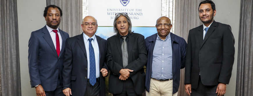 Launch of #SA4IR. From left Professor Zeblon Vilakazi (Wits), Professor John Hendricks (Fort Hare), Professor Adam Habib (Wits), Sipho Maseko (Telkom), Professor Babu Paul (UJ). Photo by Wits University
