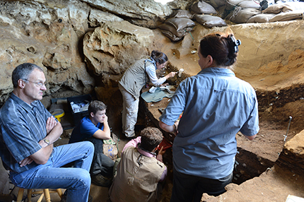 rofessor Chris Henshilwood and his team working behind the scenes in Blombos Cave in South Africa's southern Cape, where the drawing was found. Credit: Ole Frederik Unhammer