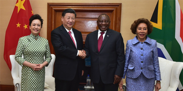 President Cyril Ramaphosa and President Xi Jinping of the People's Republic of China alongside First ladies Dr Tshepo Motsepe and China's Peng Liyuan during a State Visit to South Africa, at the Union Buildings in Pretoria. (Photo: GCIS)