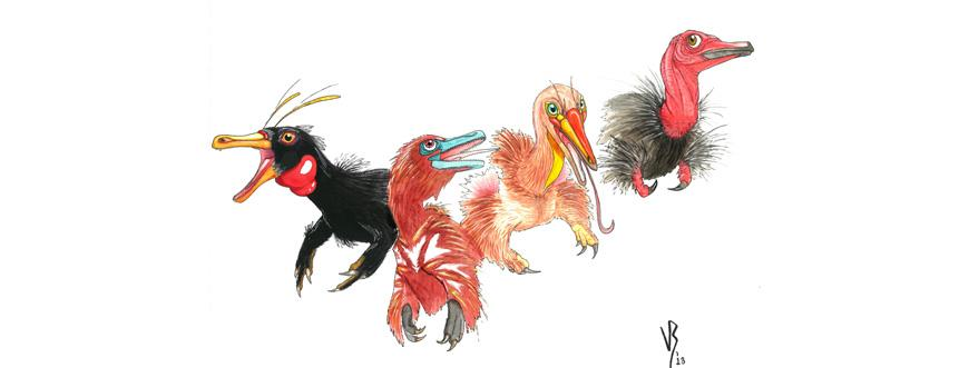 Viktor Radermacher artist reconstruction of important alvarezsaur species L_R Haplocheirus, Xiyunykus, Bannykus, and Shuvuuia.x870