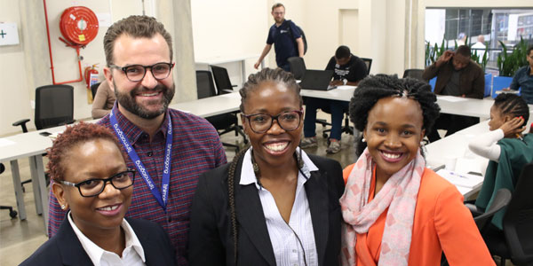 Dr Jabulile Msimango-Galawe, Shaun Randles, Nokwazi Mzobe and Tsabi Molapo at the panel discussion during the IBM Startup Bootcamp at Wits' Tshimologong Digital Innovation Precinct.