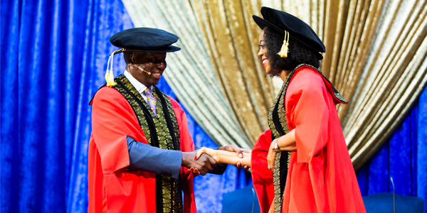 Justice Dikgang Moseneke and Dr Judy Dlamini during her installation as incoming Wits Chancellor