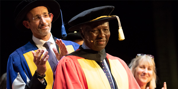 Justice Dikgang Moseneke receiving an honorary Doctorate of Laws from Wits University
