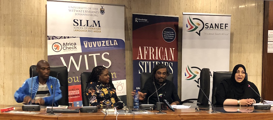 Ruth First panel: Activist Mmnikelo Ndabankulu, Chairperson of the South African National Editors Forum (Sanef) Mahlatse Mahlase, guest speaker Niren Tolsi and Mail and Guardian Editor in Chief Khadija Patel
