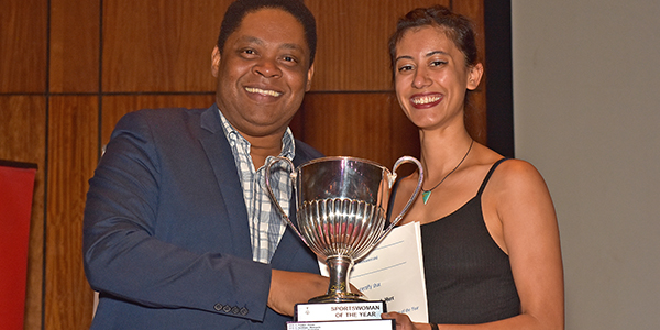 Tanita Ramburuth-Hurt, 2018 Wits Sportswoman and 2017 Gauteng Sport Awards Sportswoman with the Dean of Students Jerome September