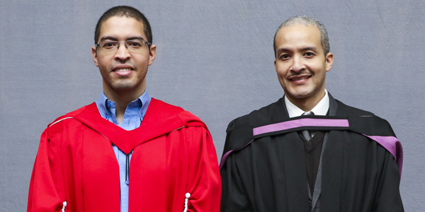 Dr Karl (left) and Kevin van Wyk, sons of the late author Chris van Wyk who was awarded an honorary doctorate degree posthumously by Wits University.
