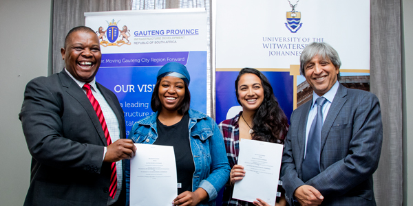MEC for the Department of Infrastructure Jacob Mamabolo, Wits SRC President Sisanda Mbolekwa, SRC Deputy Secretary-General Thaakirah Savahl and Wits Vice-Chancellor and Principal Professor Adam Habib