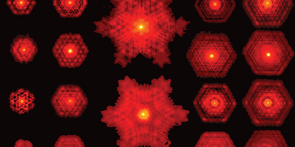Several patterns of fractal light, created by a laser in the Wits Structured Light Laboratory. Credit: Wits University.