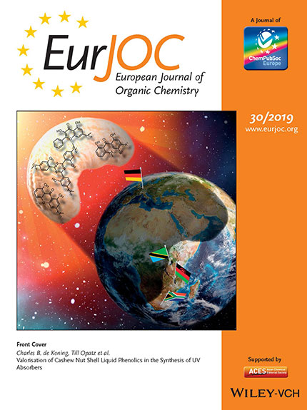 The cover of the European Journal of Organic Chemistry in which the research article on the process of producing UV filters from cashew nuts is published.