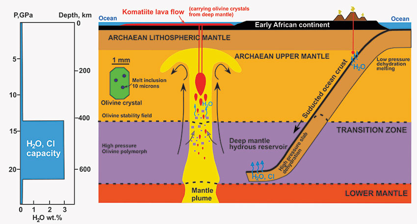 A diagrammatic representation of the Earth in the Archaean showing subducted ocean floor carrying its chemical signature into the deep mantle. The signature which includes water and chlorine is preserved in melt inclusions contained within olivine and carried back up to surface within komatiite lava flows.