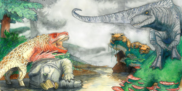 Artist's reconstruction of two rauisuchians fighting over a desiccated corpse of a mammal-relative in the Triassic of southern Africa. In the background, dinosaurs and mammal-like reptiles form other parts of the ecosystem. Credit: Viktor Radermacher