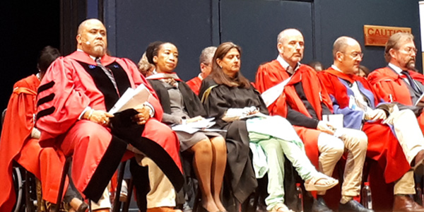 Professor Lawrence D. Bobo (L) from Harvard University, guest speaker at the Faculty of Commerce, Law and Management graduation ceremony on 10 December 2019