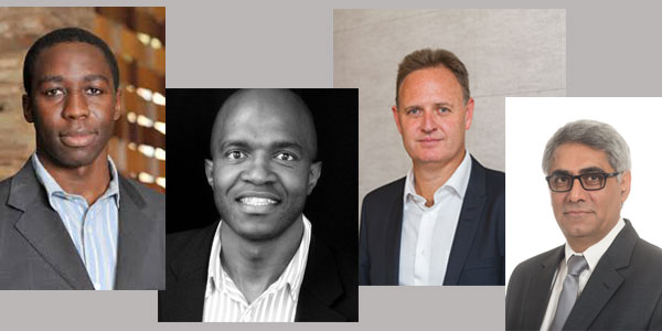 (l-r) Profs Liberty Mncube, Mzukisi Qobo, Dr Kenneth Creamer and Prof. Imraan Valodia