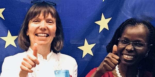 Prof.Doris Schroeder left and Wits Law Prof.Pamela Andanda at the launch of the Global Code of Conduct for Research which Wits has adopted at the European Parliament in 2018_600x300.jpg