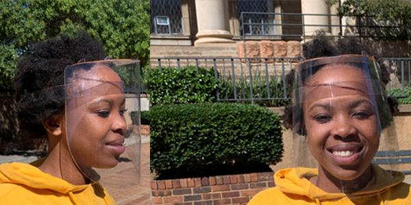 Wits face shields. Model: Tshwarela Kolokoto