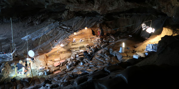 Excavations in the Border Cave in the Lebombo Mountains in South Africa