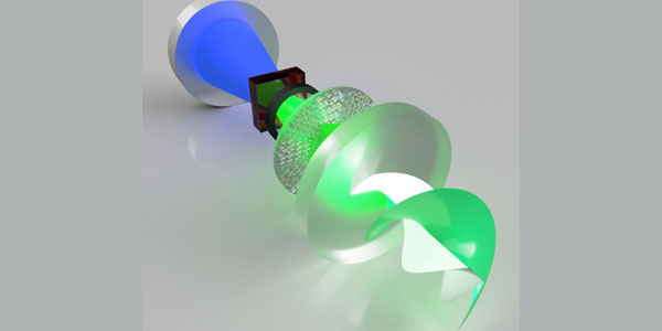 An artistic impression of the metasurface laser to produce super-chiral twisted light with OAM up to 100. Credit: Wits University