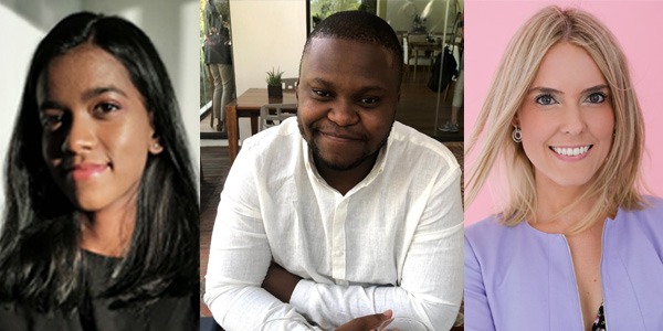 Wits PhD Winners: Tamlyn Naidu (Chemical and Metallurgical Engineering), Zakhele Ndala (School of Chemistry) and Leigh Crymble (Wits Business School)