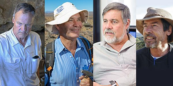left to right_Profs. Christopher Henshilwood, Bruce Rubidge, Bob Scholes and Roger Smith are again amongst Wits NRF A rated researchers in 2021.