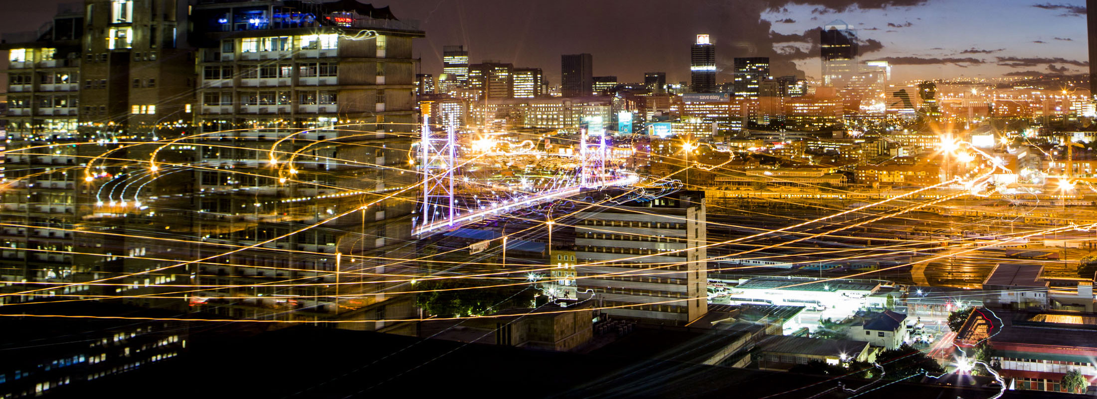Johannesburg and its city lights at night