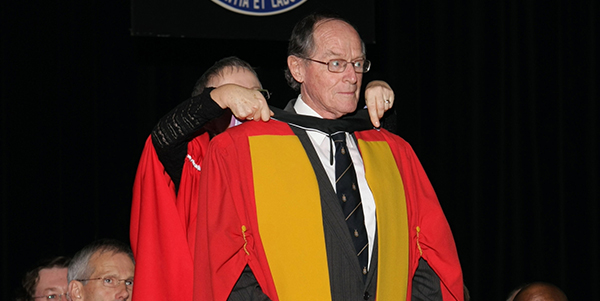 Professor Jerrold Turner Steele receiving a Doctor of Laws (Honoris Causa) in 2009.