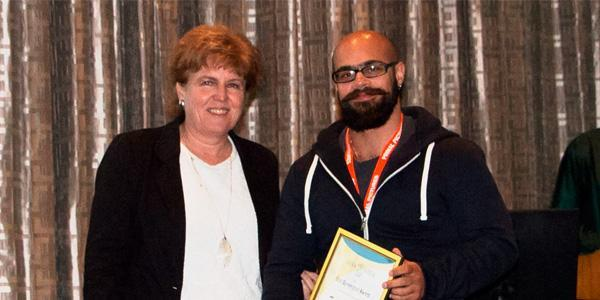 Prof Maryna Steyn awards Dr Toby Houlton at Anatomical Society of Southern Africa conference April 2017