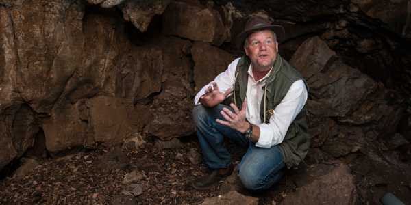 Professor Lee Berger inside the Rising Star cave entrance