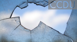 Image of broken glass with view of sky