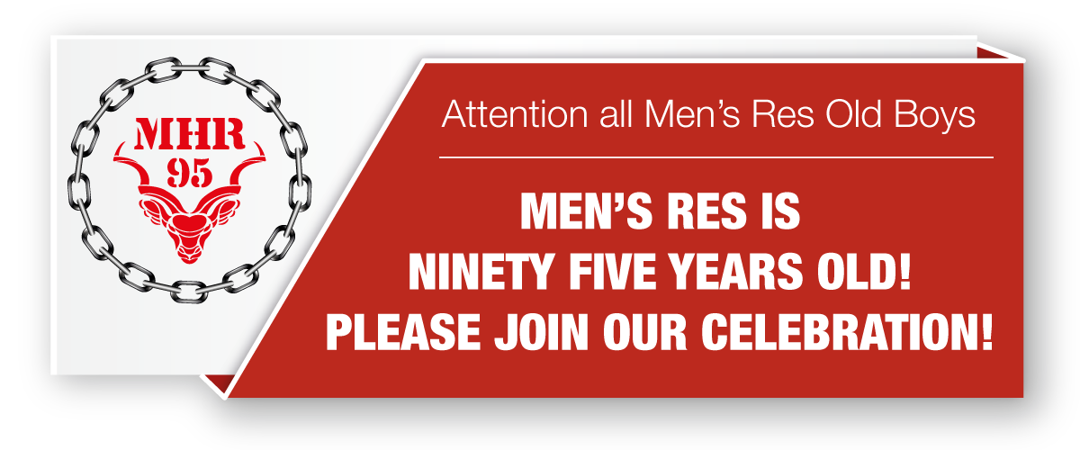 Mens Res turns 95 reunion banner