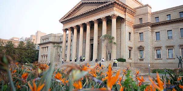 View of the Wits Great Hall with Stralitzia flowers