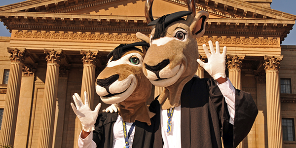 Wits Kudu Mascots in front of Great Hall